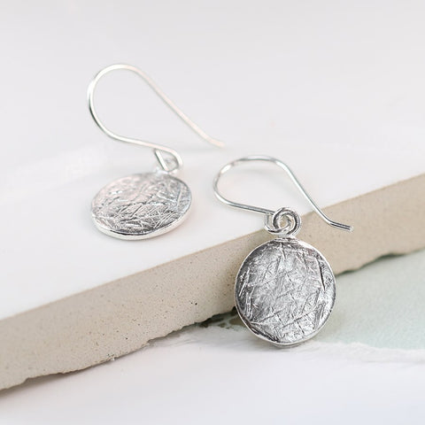 Silver Scratched Disc Earrings