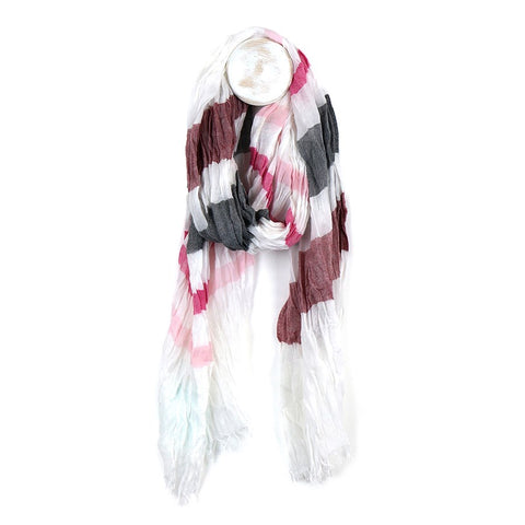 Bright Stripe Woven Scarf - Pink Mix