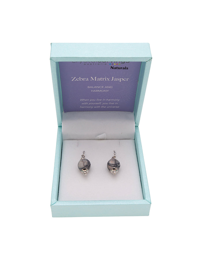 Zebra Matrix Drop Earrings 10mm Bead on Rhodium Plated Silver Hooks