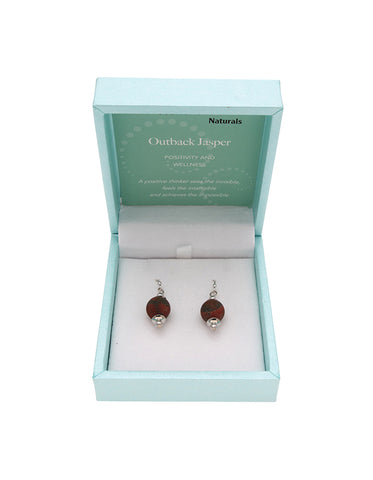 Outback Jasper Drop Earrings 10mm Bead on Rhodium Plated Silver Hooks