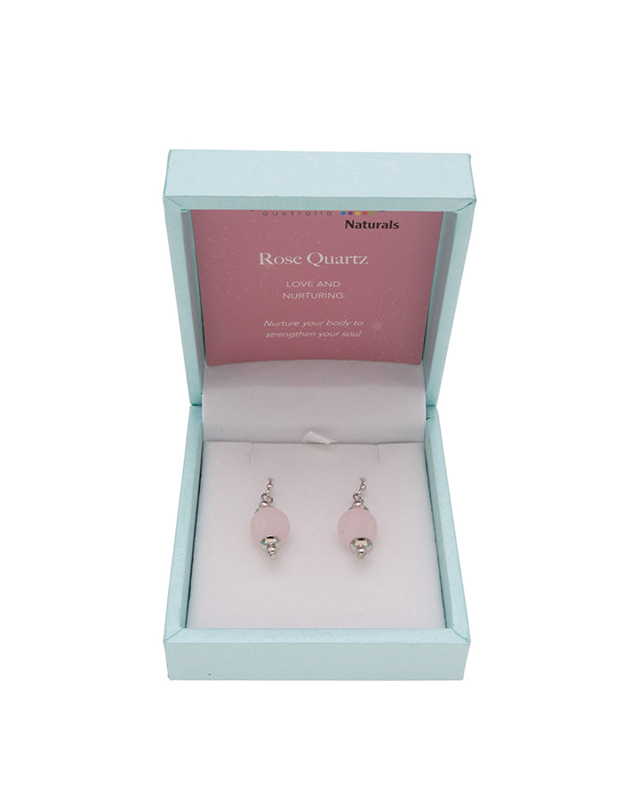 Rose Quartz Drop Earrings 10mm Bead on Rhodium Plated Silver Hooks