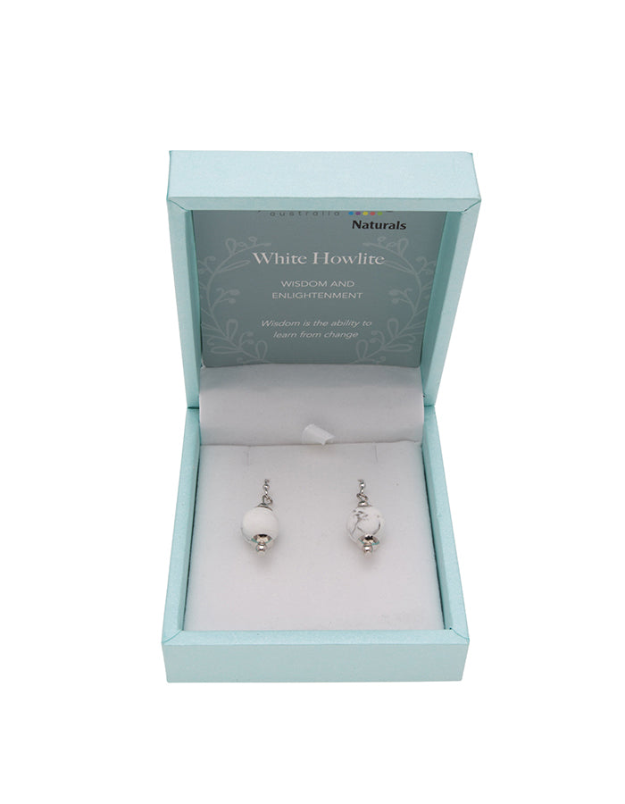 White Howlite Drop Earrings 10mm Bead on Rhodium Plated Silver Hooks
