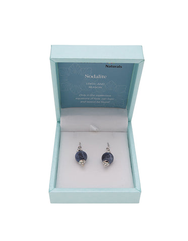 Sodalite Drop Earrings 10mm Bead on Rhodium Plated Silver Hooks