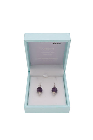 Amethyst Drop Earrings 10mm Bead on Rhodium Plated Silver Hooks
