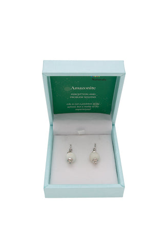 Amazonite Drop Earrings 10mm Bead on Rhodium Plated Silver Hooks