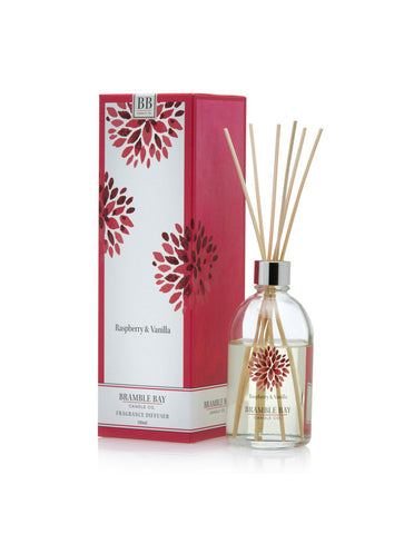 A luxury reed diffuser featuring hints of black raspberry and vanilla fragrance.