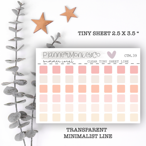 CTM.39 | Transparent Squares ' summer coral ' Tiny Sheet (Transparent)