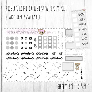 HCWKIT4 | 'Black Constellation ' Hobonichi Cousin WEEKLY Kit + ADD on