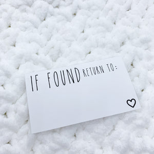 ' If found Return To ' Quote Card  Die Cut | CARDSTOCK