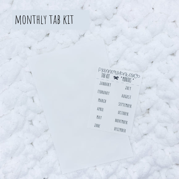 'Monthly' Minimal TAB Kit (Transparent)