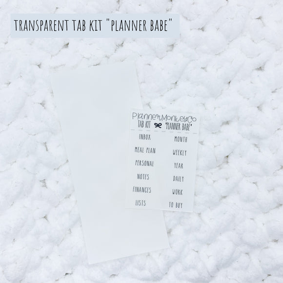 'Planner babe' Minimal TAB Kit (Transparent)