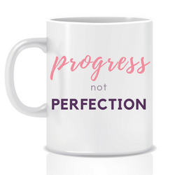 Progress not perfection - personalised mug - goal mug - inspirational mug - motivational mug - whattamug!