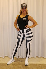 Legging Black & White Striped CutOut