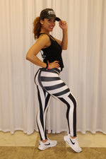 Legging Black & White Striped CutOut - Clarabella - Activewear
