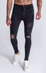 GK Black Ripped and Repair Jeans - Gianni Kavanagh - Clothing Jeans