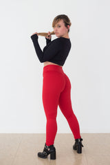 Mi Malla Pleat Scrunch Butt Red Leggings - Mi Malla - Leggings
