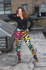 Ukwu Dance Colorful African Print High Waist Leggings