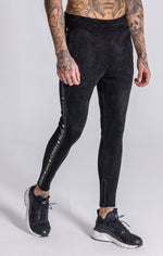 GK Black Suedette Joggers With Contrasting Details - Gianni Kavanagh - Clothing Joggers