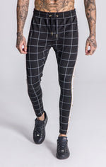 GK Black Checked Joggers With White/Gold Ribbon - Gianni Kavanagh - Clothing Joggers