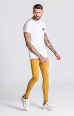 GK White Raglan Tee With White/Gold Ribbon - Gianni Kavanagh - Clothing T-shirts