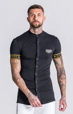 GK Black Short Sleeve Collarless Shirt With Black/Gold Elastic - Gianni Kavanagh - Clothing Shirts