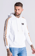 GK White Hoodie With White/Gold Ribbon - Gianni Kavanagh - Clothing Hoodies