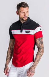 GK Red Asymmetric Block Polo With Piping Detail - Gianni Kavanagh - Clothing Polo
