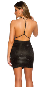 KouCla Party Glitter Mini Dress Backless Black