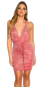 KouCla Party Glitter Mini Dress Backless Red
