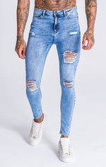 GK Blue Ripped And Repair Jeans - Gianni Kavanagh - Clothing Jeans