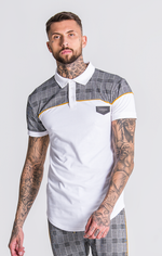 GK White And Checked Polo With Piping Detail - Gianni Kavanagh - Clothing Polo