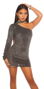 KouCla One Shoulder Neck Mini Dress Silver
