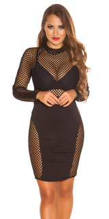 KouCla Long Sleeve Net Dress Black - KouCla - Clothing Dresses