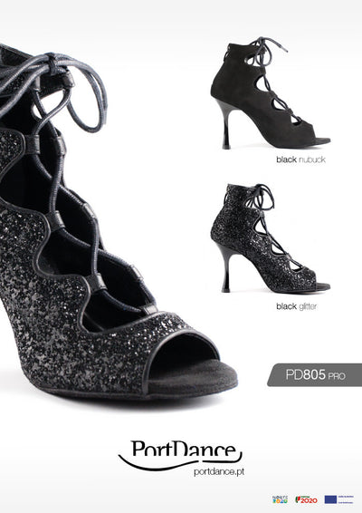 PortDance PD805 Black Glitter - Portdance - Dance Shoes