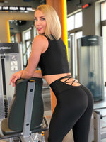 Lismina Back Strap Black Leggings