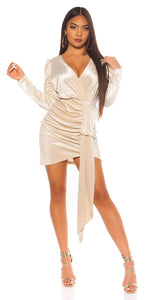 KouCla Suede Party Mini Dress Beige
