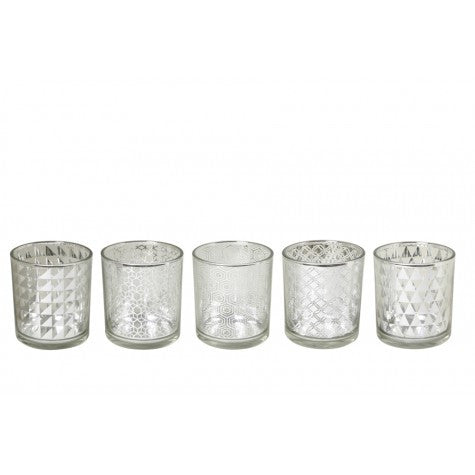 Set of 5 Silver Tealights