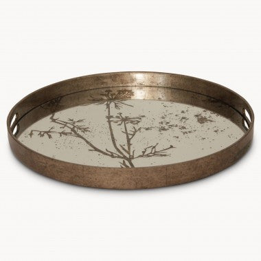 Large round tray with cow parsley pattern 46cm diameter