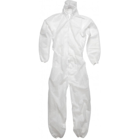 White polypropylene disposable coverall boil- ersuit with hood - The PPE Shop