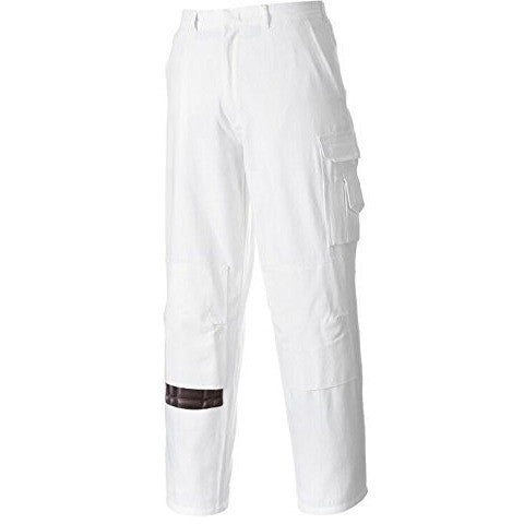 Portwest Workwear Mens Painters Trousers White - The PPE Shop