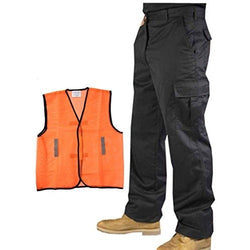 Mens Cargo Combat Work Trousers Workwear Multi Pocket Pants Black Navy Blue + Hi Vis Mesh Vest - The PPE Shop