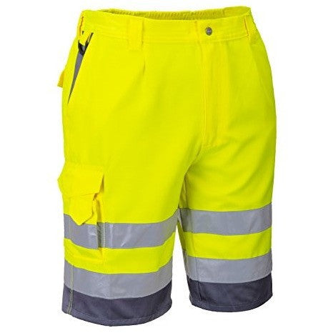 Portwest E043YGYM Medium Hi-Vis Polycotton Shorts - The PPE Shop