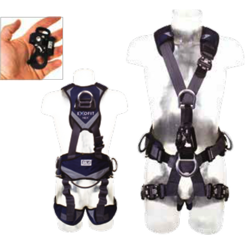Front and rear fall arrest points, and work positioning belt. Adjustable shoulders, waist and legs. Duo-Lok Quick Connect buckles on legs and shoulder. Supplied fitted with removable ultra compact chest ascender - The PPE Shop