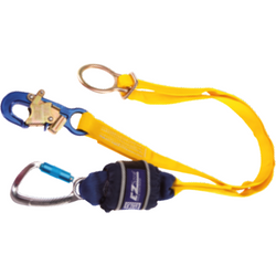 EZ-Stop Tie Back, Twin leg, 2 m Length with Aluminium Twist Lock Carabiner, 20 mm Gate Opening, Body Connector and Aluminium Snap Hook, 21 mm Gate Opening Anchor Connector - The PPE Shop