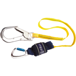 Twin leg, 2 m Length with Aluminium Twist Lock Carabiner, 20 mm Gate Opening Body Connector and<br>  Aluminium Scaffold Hook, 60 mm Gate Opening Anchor Connector - The PPE Shop