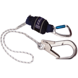 DBI-SALA Rope Shock Absorbing Lanyard, Single leg, 1.25 m Length with Aluminium Twist Lock<br>  Carabiner, 20 mm Gate Opening Body Connector and Aluminium Scaffold Hook, 60 mm Gate<br>  Opening Anchor Connector - The PPE Shop