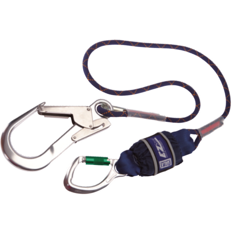 DBI-SALA Edge Tested Shock Absorbing Lanyard, Twin leg, 1.5 m Length with Aluminium Snap<br>  Hook, 21 mm Gate Opening Body Connector and Aluminium Scaffold Hook, 60 mm Gate Opening<br>  Anchor Connector - The PPE Shop