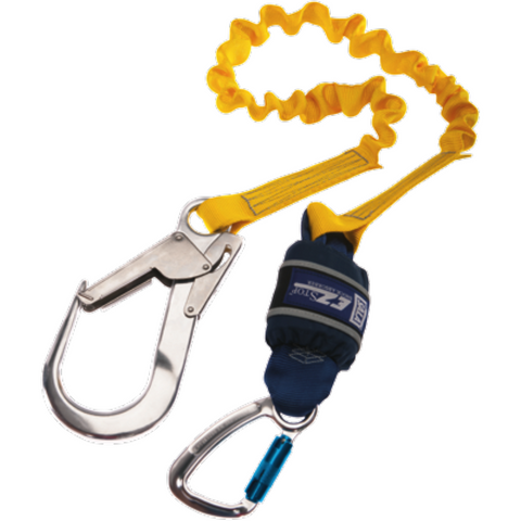 Expander, Single leg, 2 m Length with Aluminium Twist Lock Carabiner, 20 mm Gate Opening Body<br>  Connector and Aluminium Scaffold Hook, 60 mm Gate Opening Anchor Connector - The PPE Shop