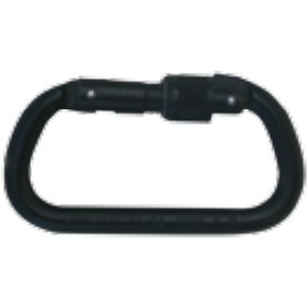 Aluminium carabiner screw gate, black, 17 mm opening, 25 kN breaking strength - The PPE Shop