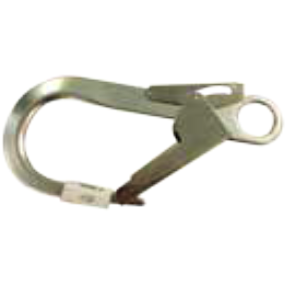 Braided rope 10.5 mm diameter, twin leg, 1 x AJ501 steel screw gate carabiner, 17 mm opening and 1 x AJ527 aluminium scaffold hook, 60 mm opening - The PPE Shop